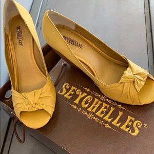 """Yellow Leather 3"""" wedge heel sandals by SEYCHELLES"""